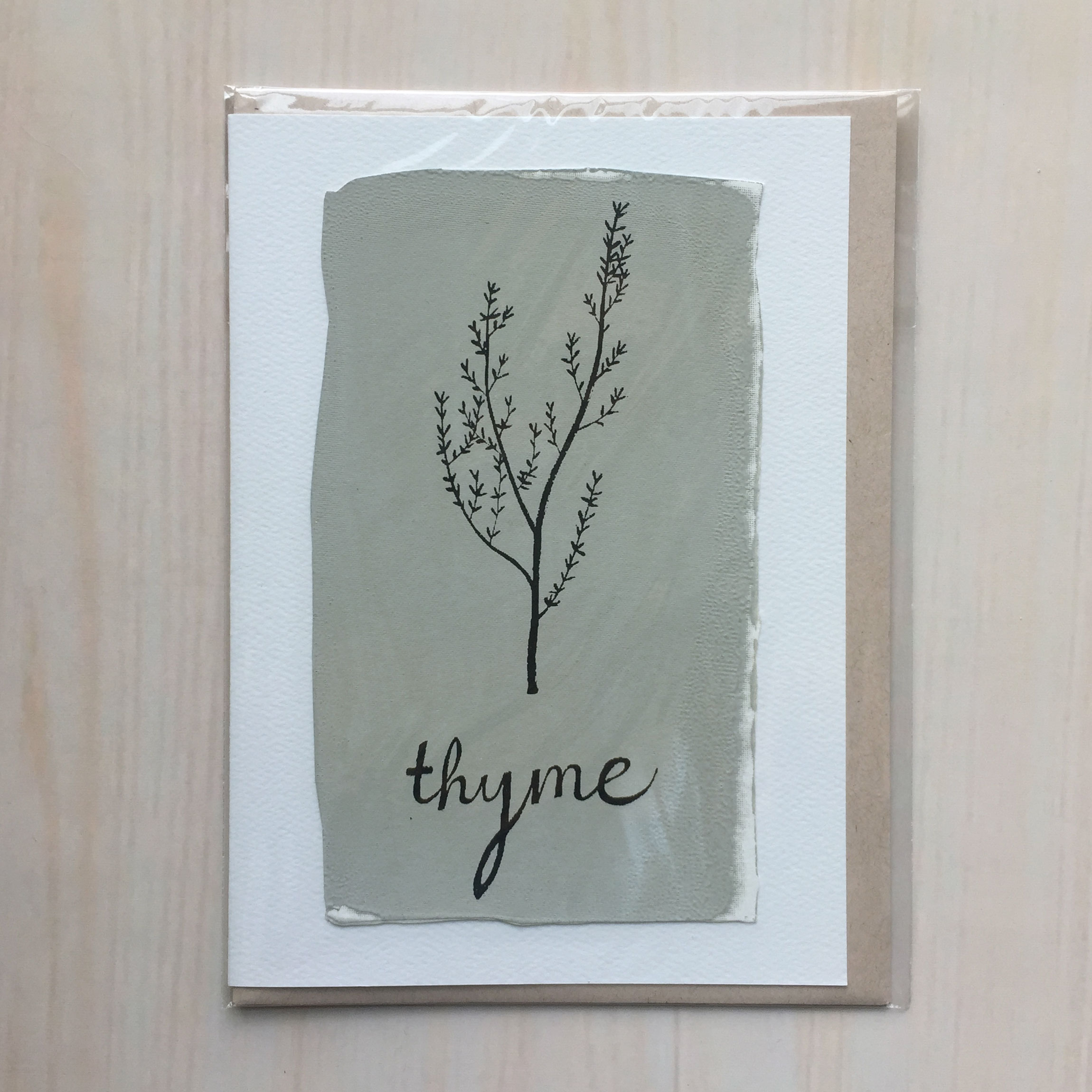 "Thyme   Size: 5""x7"" Printing: screenprint Inside: blank Envelope: rustic brown"