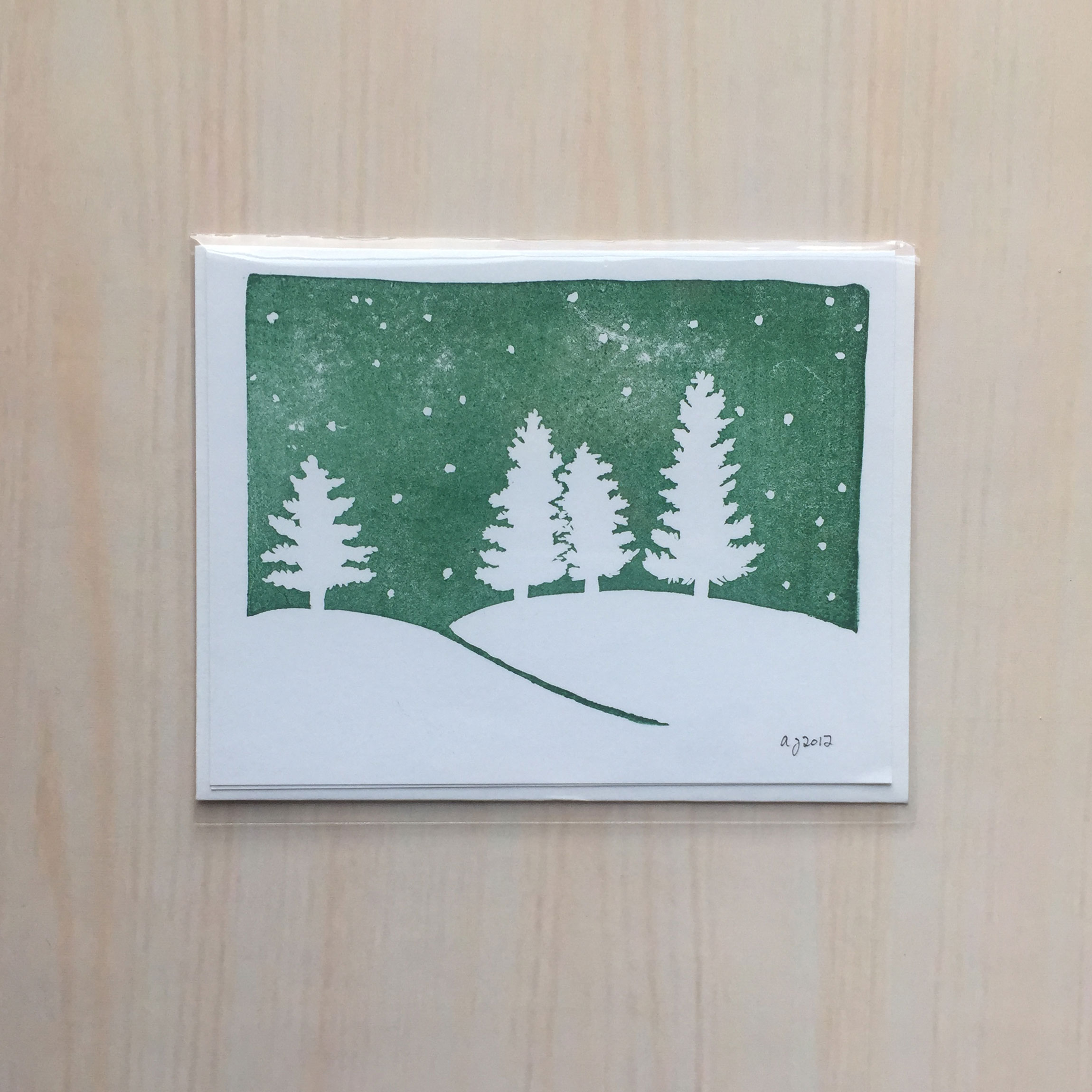 "Winterness in Evergreen   Size: 4""x5"" Printing: block print Inside: blank Envelope: white"