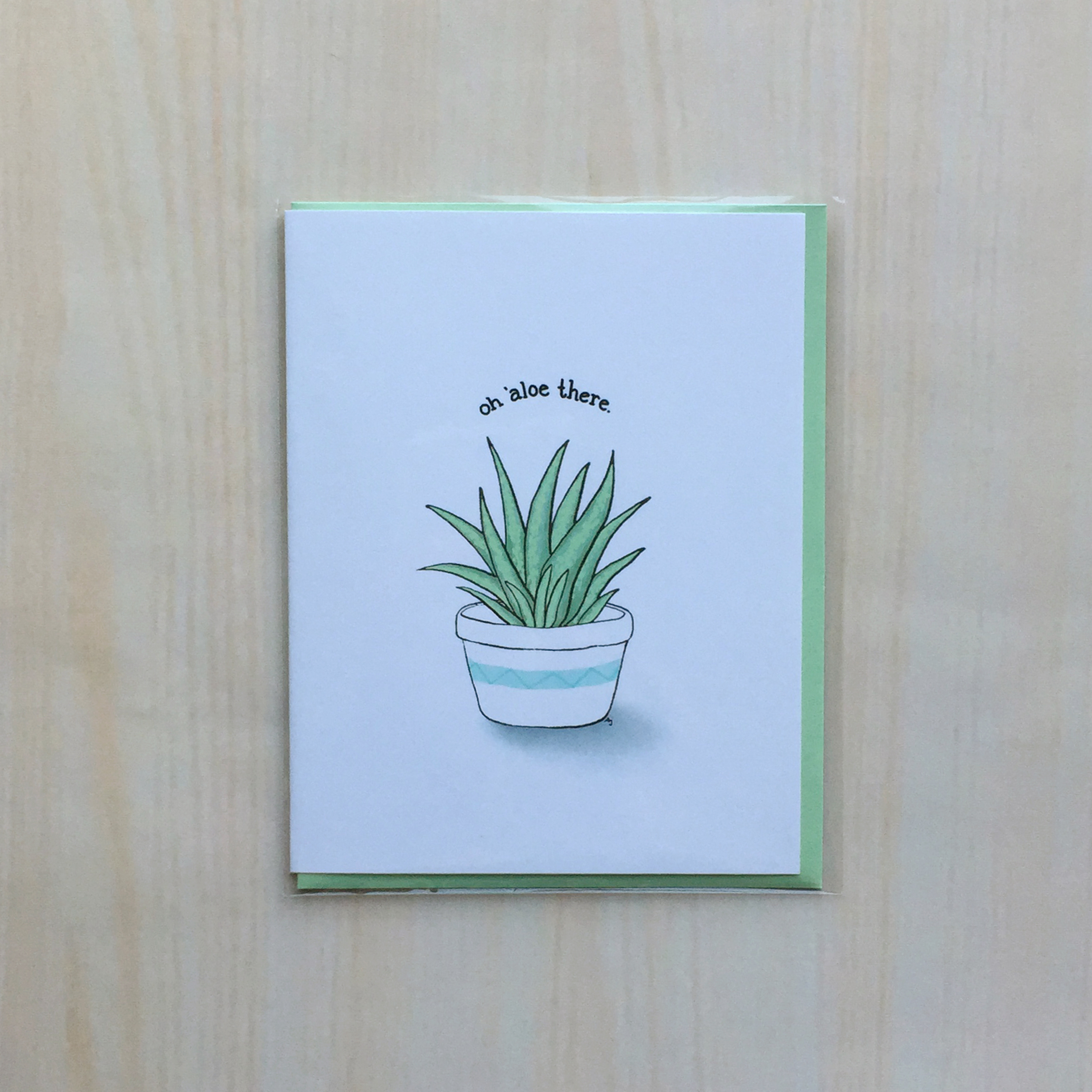 "Aloe Hello   Size: 4""x5"" Printing: digital Inside: blank Envelope: mint"