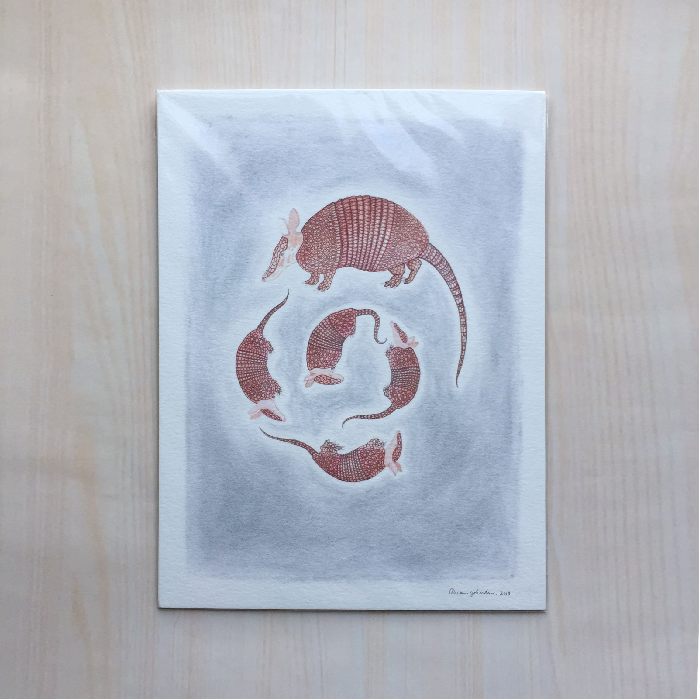 "Armadillos   Size: 9""x12"" Printing: digital Paper: watercolor Original Medium: mixed Editions: open"