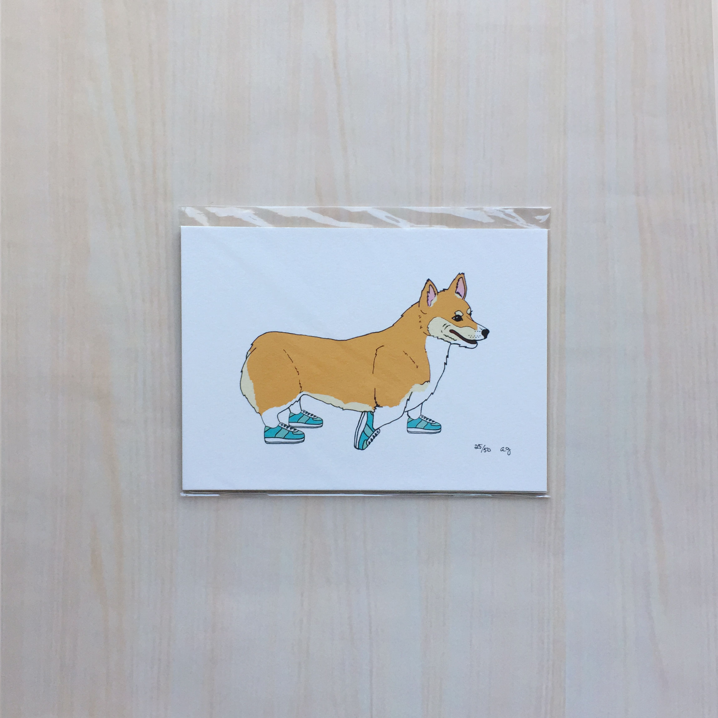 "Animals on the Run: Coco the Corgi   Size: 5""x7"" Printing: digital Paper: velvet Original Medium: ink & digital Editions: limited to 50"