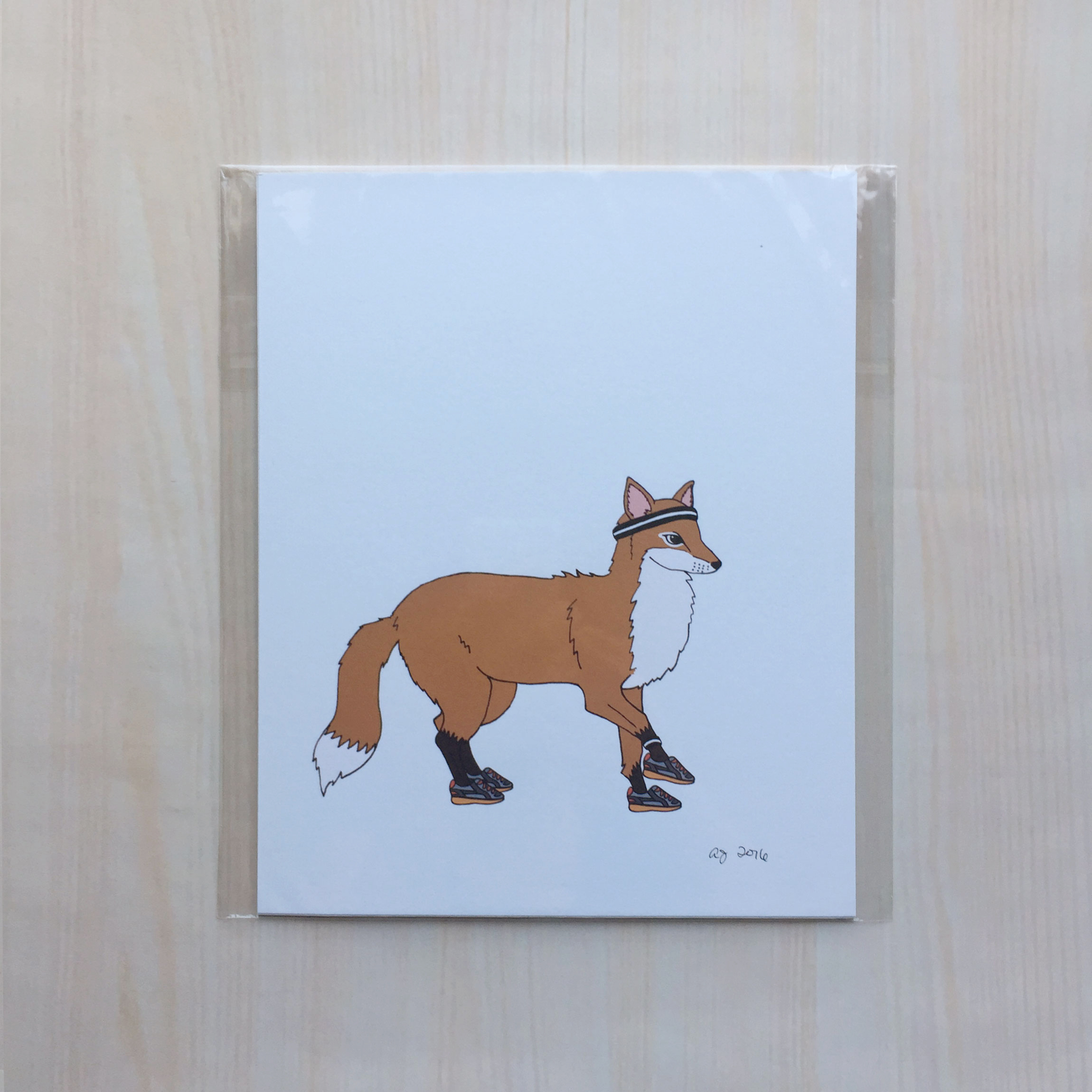 "Animals on the Run: Foxy the Fox   Size: 8""x10"" Printing: digital Paper: bristol Original Medium: ink & digital Editions: open"