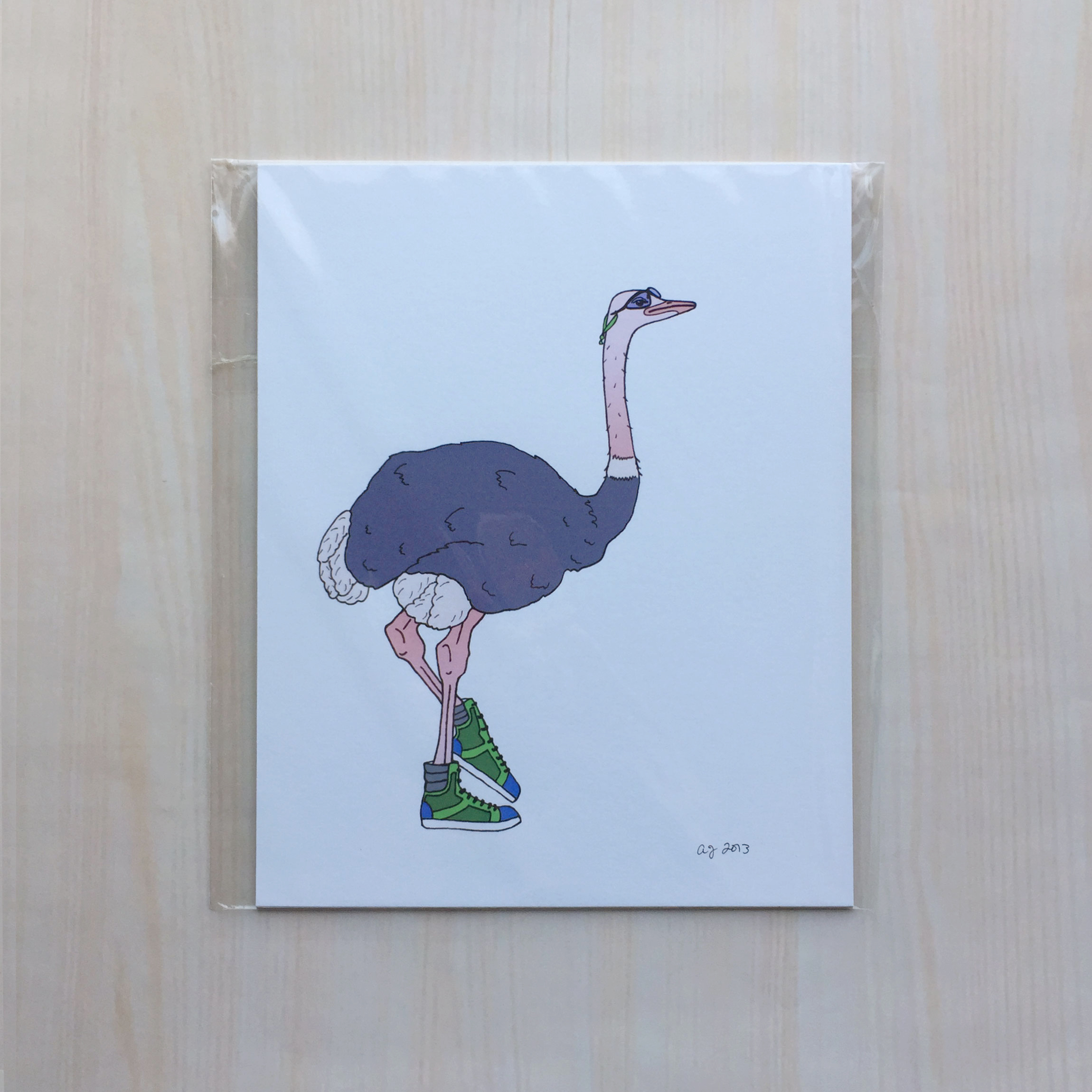 "Animals on the Run: Ossie the Ostrich   Size: 8""x10"" Printing: digital Paper: bristol Original Medium: ink & digital Editions: open"