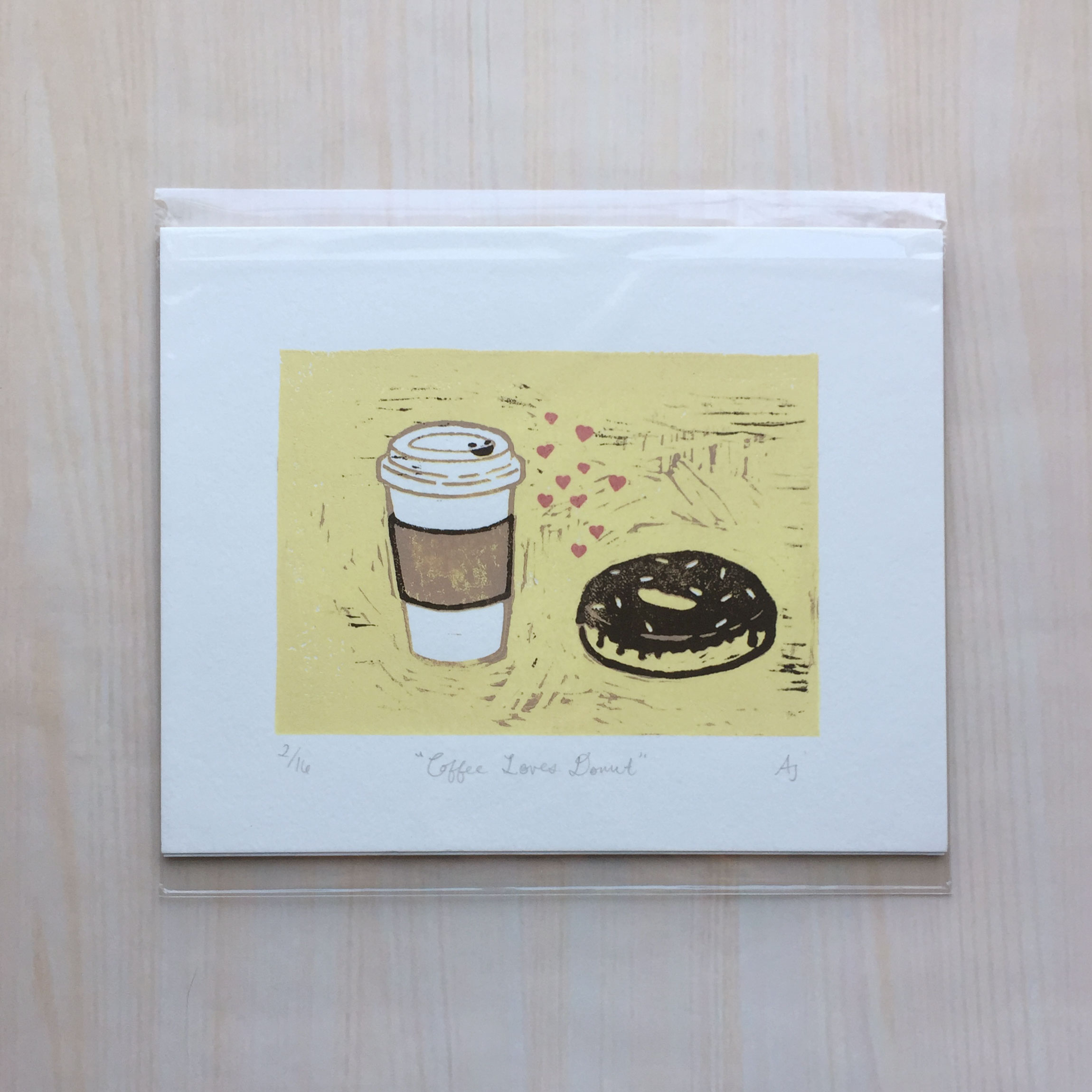 "Coffee Loves Donut   Size: 8""x10"" Printing: block print Paper: bristol Editions: limited to 16 (suicide print)"