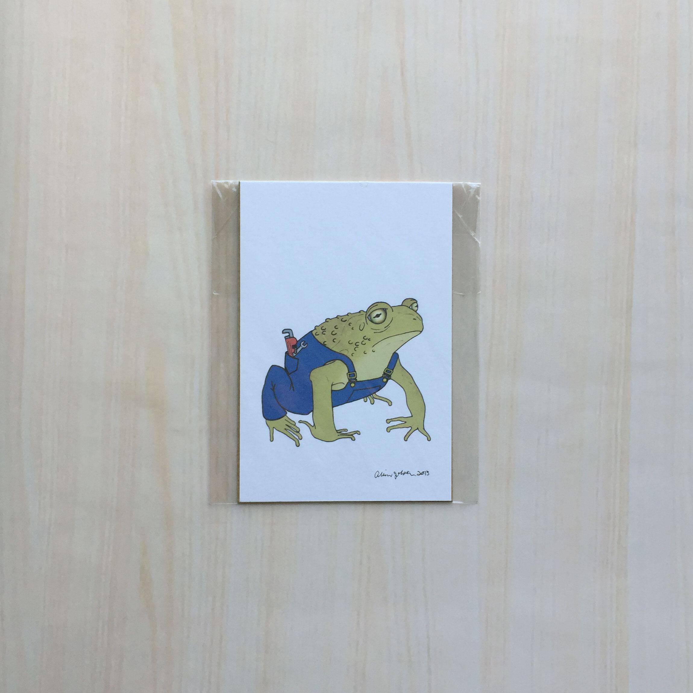 "Plumber Toad   Size: 5""x7"" Printing: digital Paper: bristol Original Medium: ink & digital Editions: open"