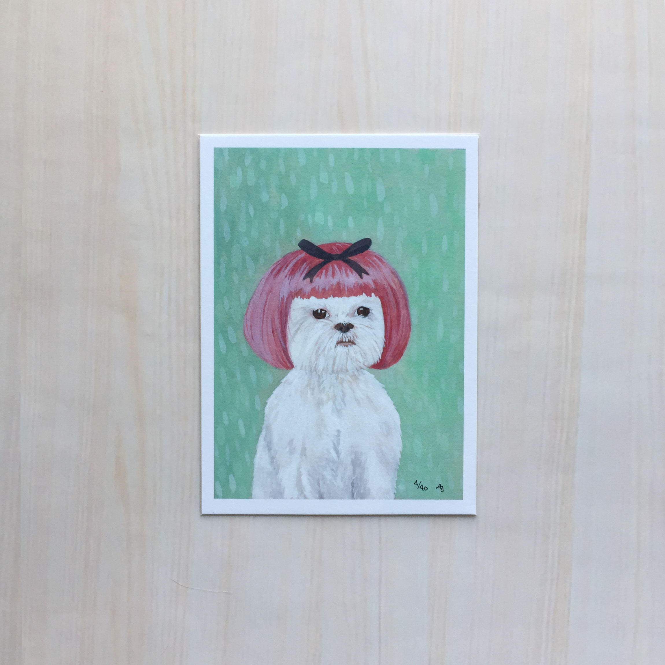 "I Shih Tzu Not   Size: 5.5""x7.5"" Printing: digital Paper: velvet Original Medium: gouache Editions: limited to 40"