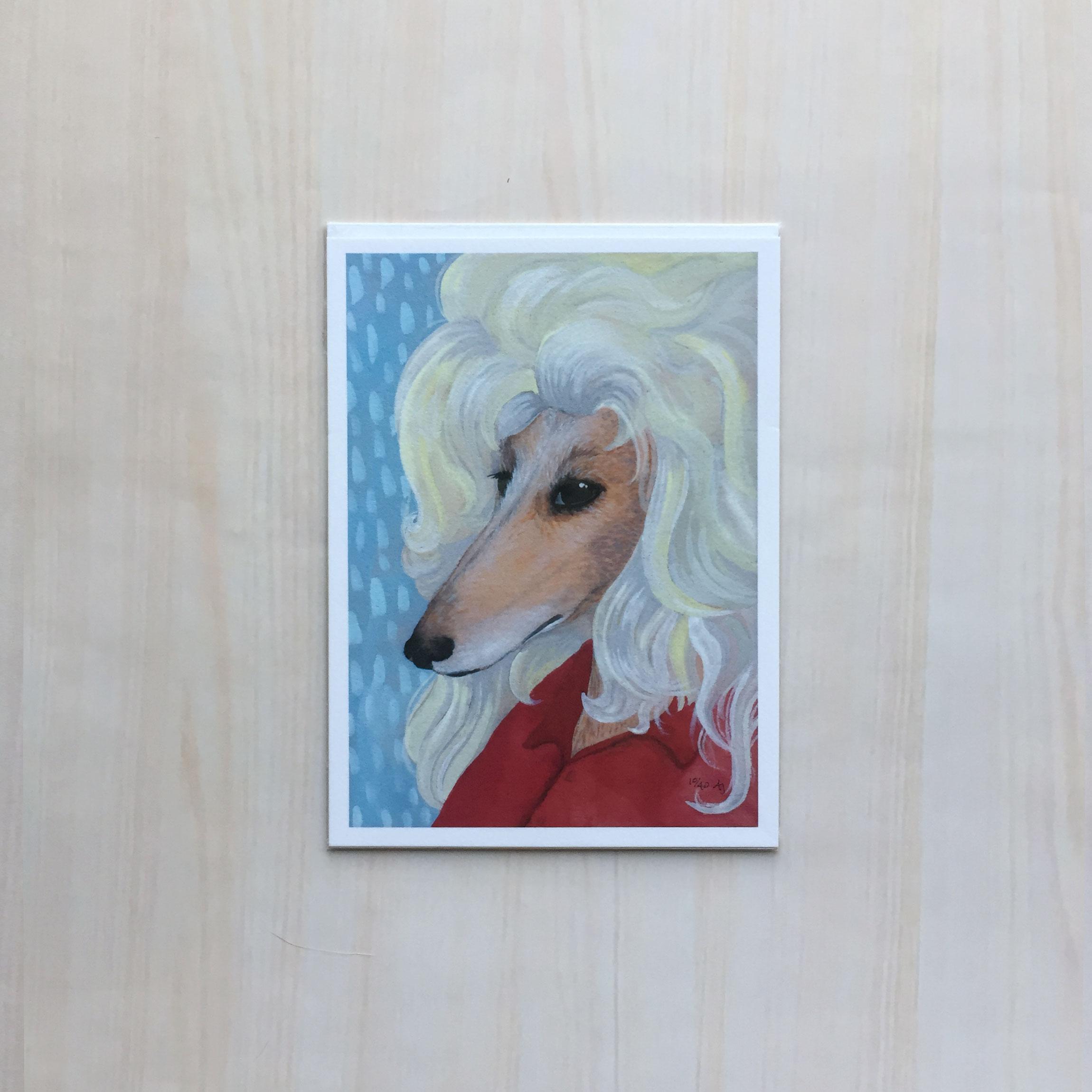 "Doggie Parton   Size: 5.5""x7.5"" Printing: digital Paper: velvet Original Medium: gouache Editions: limited to 40"