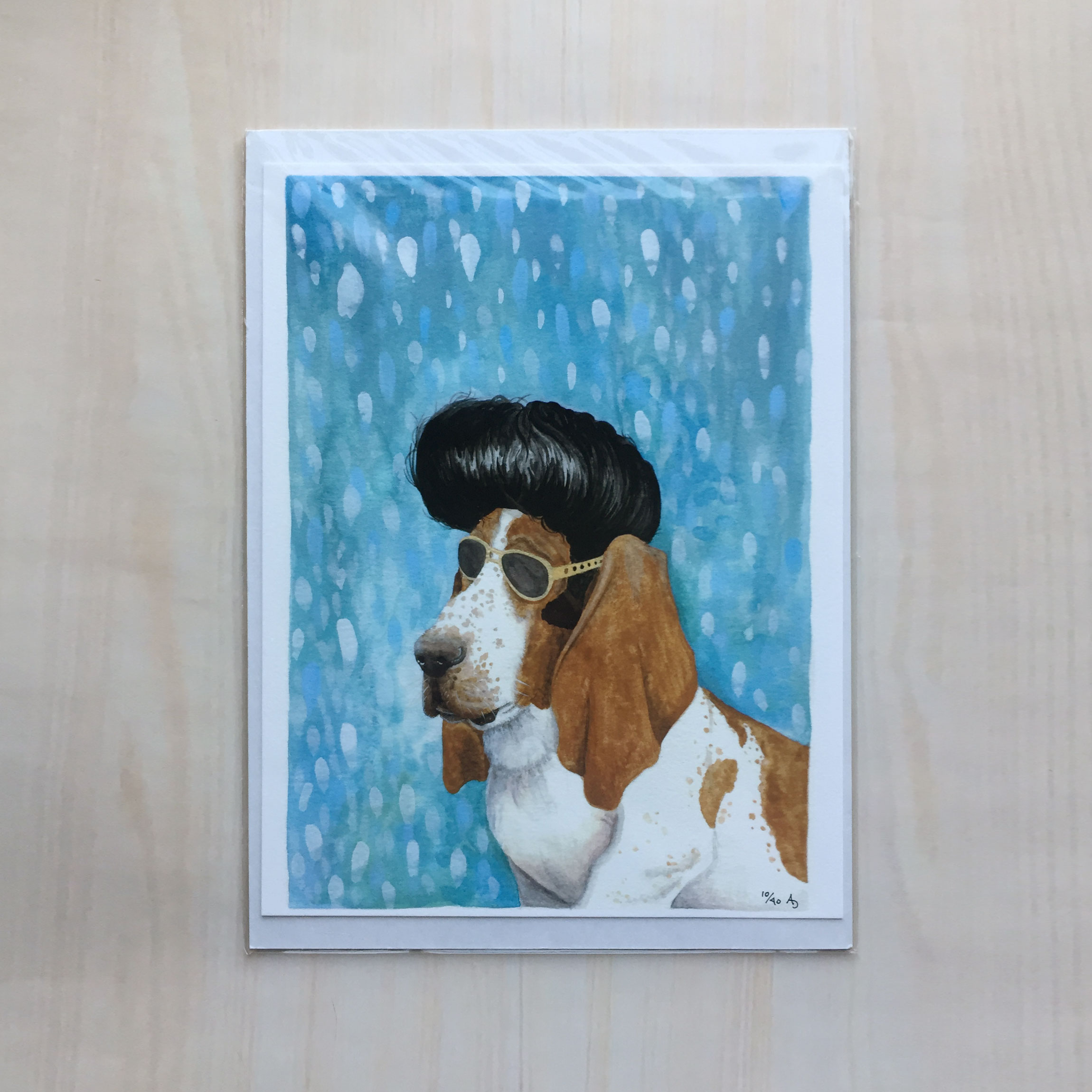"Nothin But a Hound Dog   Size: 8.5""x11"" Printing: digital Paper: velvet Original Medium: gouache Editions: limited to 40"
