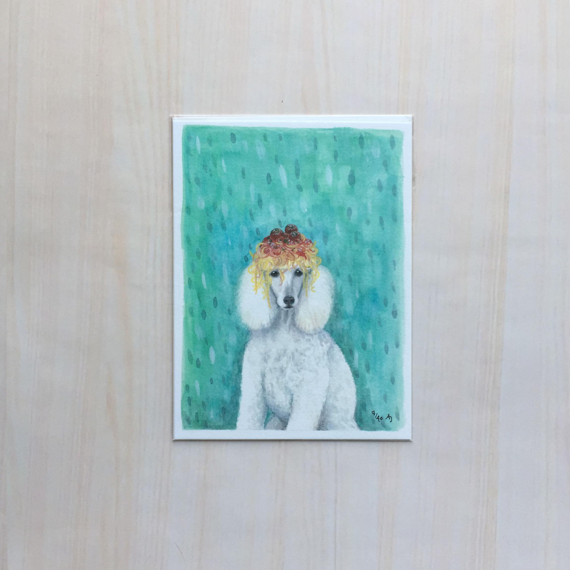 "Noodle Poodle   Size: 5.5""x7.5"" Printing: digital Paper: velvet Original Medium: gouache Editions: limited to 40"