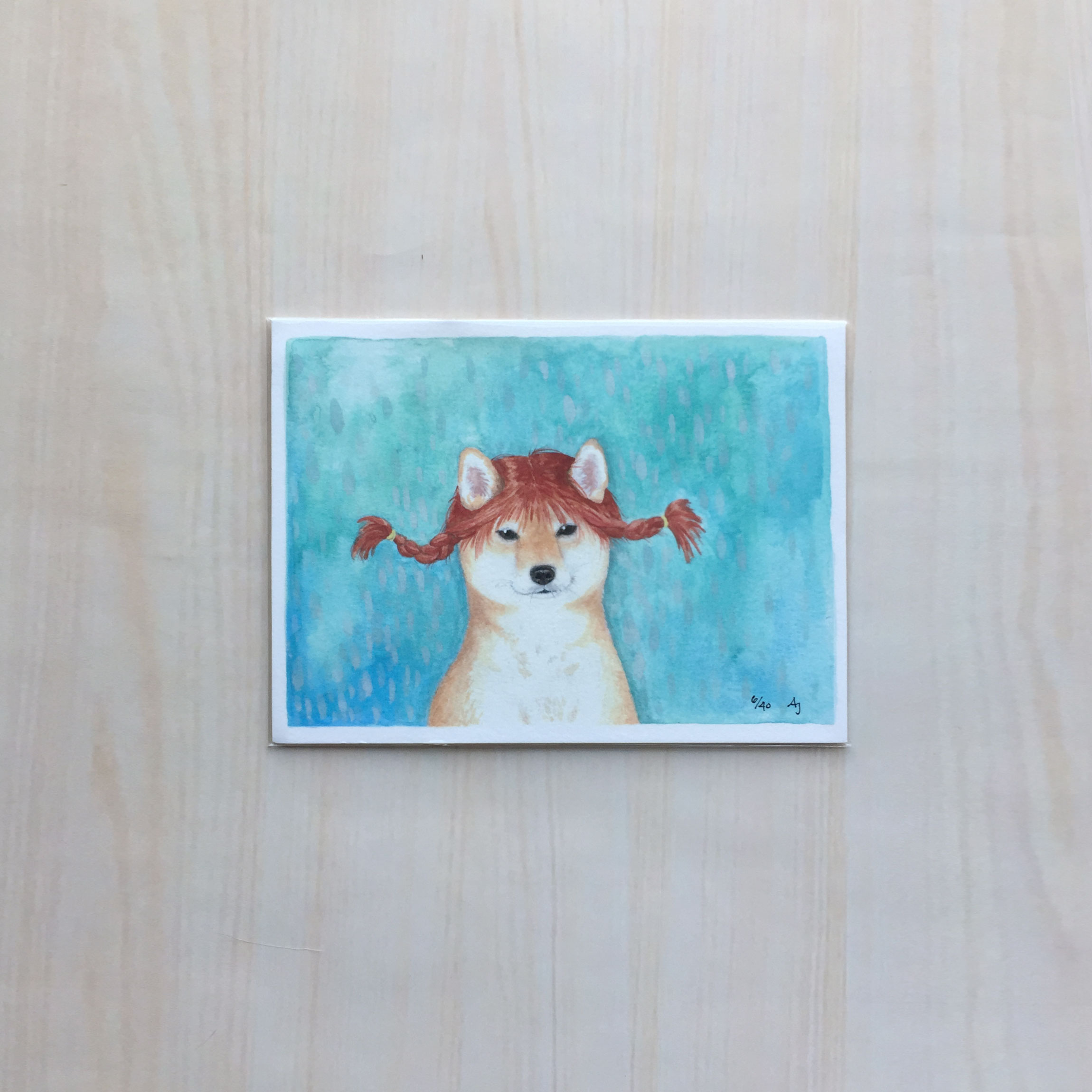"Puppy Longstocking   Size: 5.5""x7.5"" Printing: digital Paper: velvet Original Medium: gouache Editions: limited to 40"