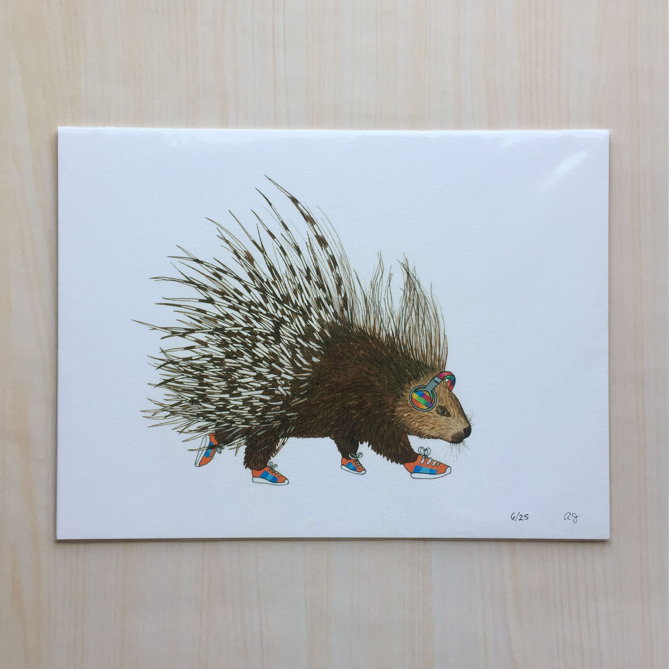 "Animals one the Run: Porky the Porcupine   Size: 9x12"" Printing: digital Paper: velvet Original Medium: gouache & ink Editions: limited to 25"