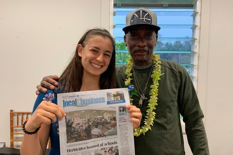 LEE JOHNSON IN HAWAII - Herbicide-Free Campus worked with the Protect Our Keiki Coalition to bring former groundskeeper, Lee Johnson (Johnson v. Monsanto plaintiff) to Hawaii, where they met with the Department of Education and got herbicides banned from all Hawaii public schools!