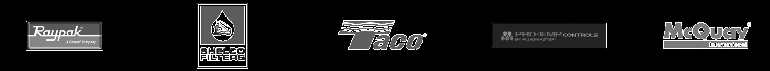 Raypak, Shelco Filters, Taco Comfort, Pro Temp Controls, and McQuay International Logos
