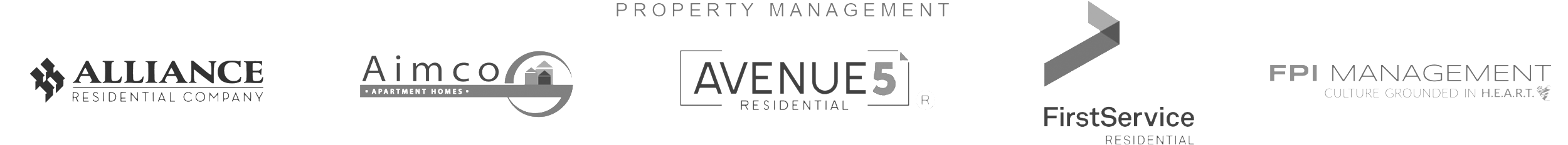 Property Management: Alliance Residential, Aimco, Avenue5 Residential, FirstService Residential, and FPI Management Logos