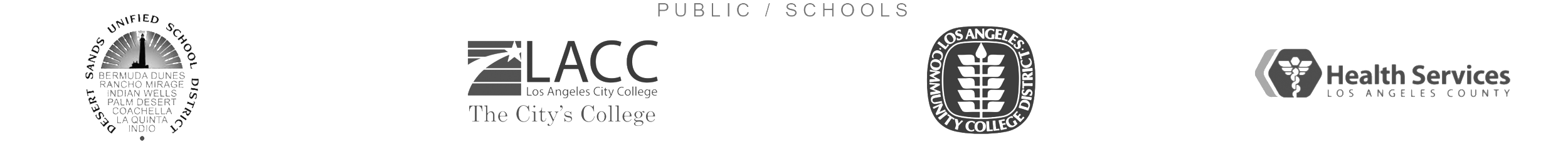 Public / Schools: Desert Sands Unified School District, Los Angeles City College, Los Angeles Community College District, and Los Angeles County Department of Health Services Logos