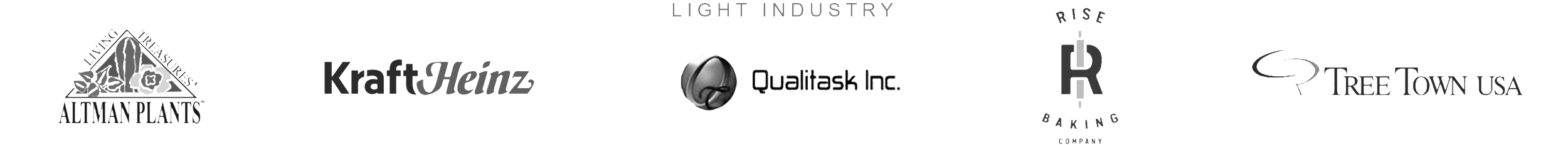 Light Industry: Altman Plants, KraftHeinz, Qualitask Inc., Rise Baking Company, and Tree Town USA Logos