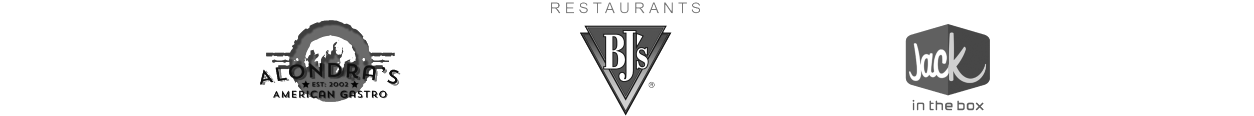 Restaurants: Alondra's, BJ's, and Jack In The Box Logos