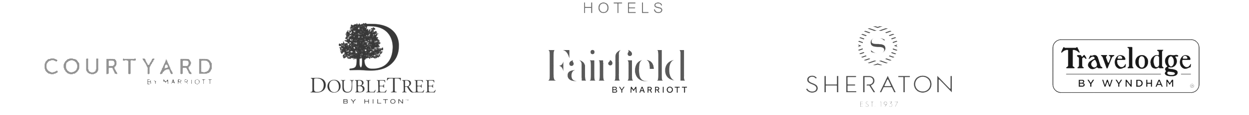 Hotels: Courtyard by Marriot, DoubleTree by Hilton, Fairfield by Marriot, Sheraton, and Travelodge Logos