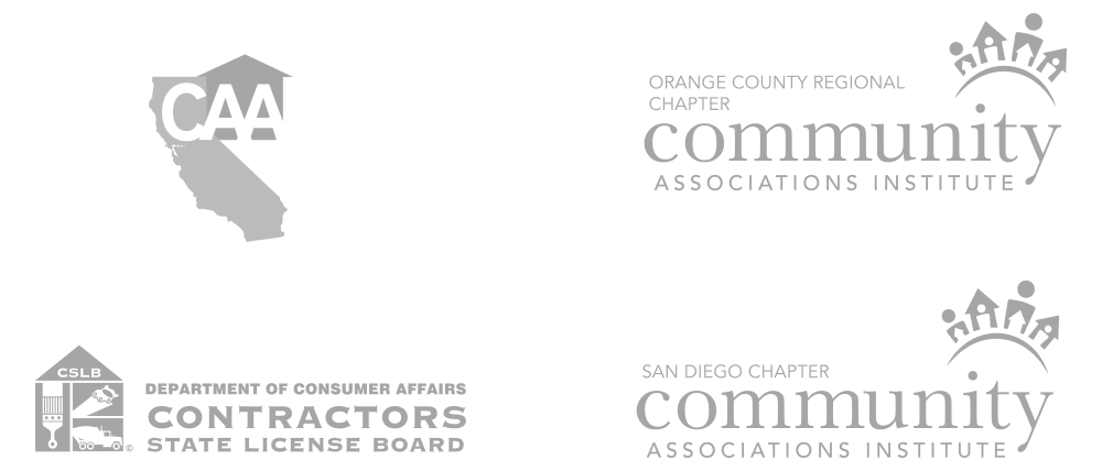 California Apartment Association, Orange County Regional Chapter - Community Associations Institute, San Diego Chapter - Community Associations Institute, and Department of Consumer Affairs - Contractors State License Board Logos