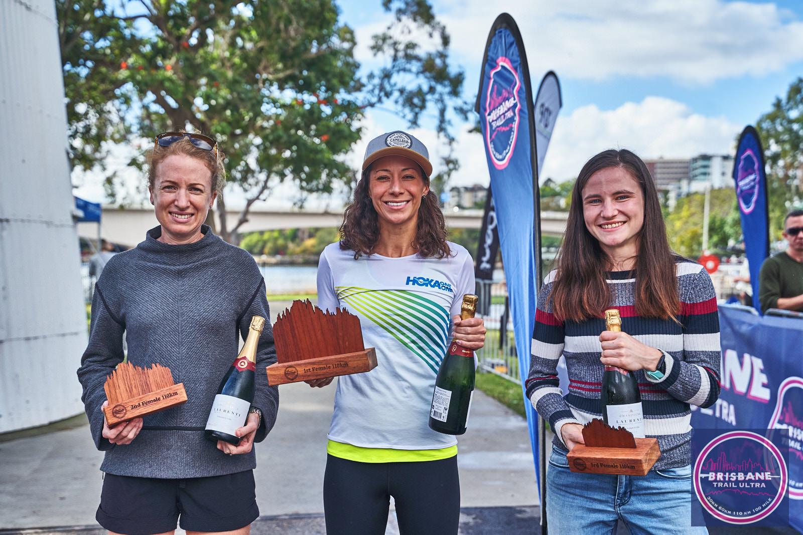 Women's 110km Podium, Jess Schulter 2nd, Kellie Emmerson 1st, Hannah McRae 3rd.