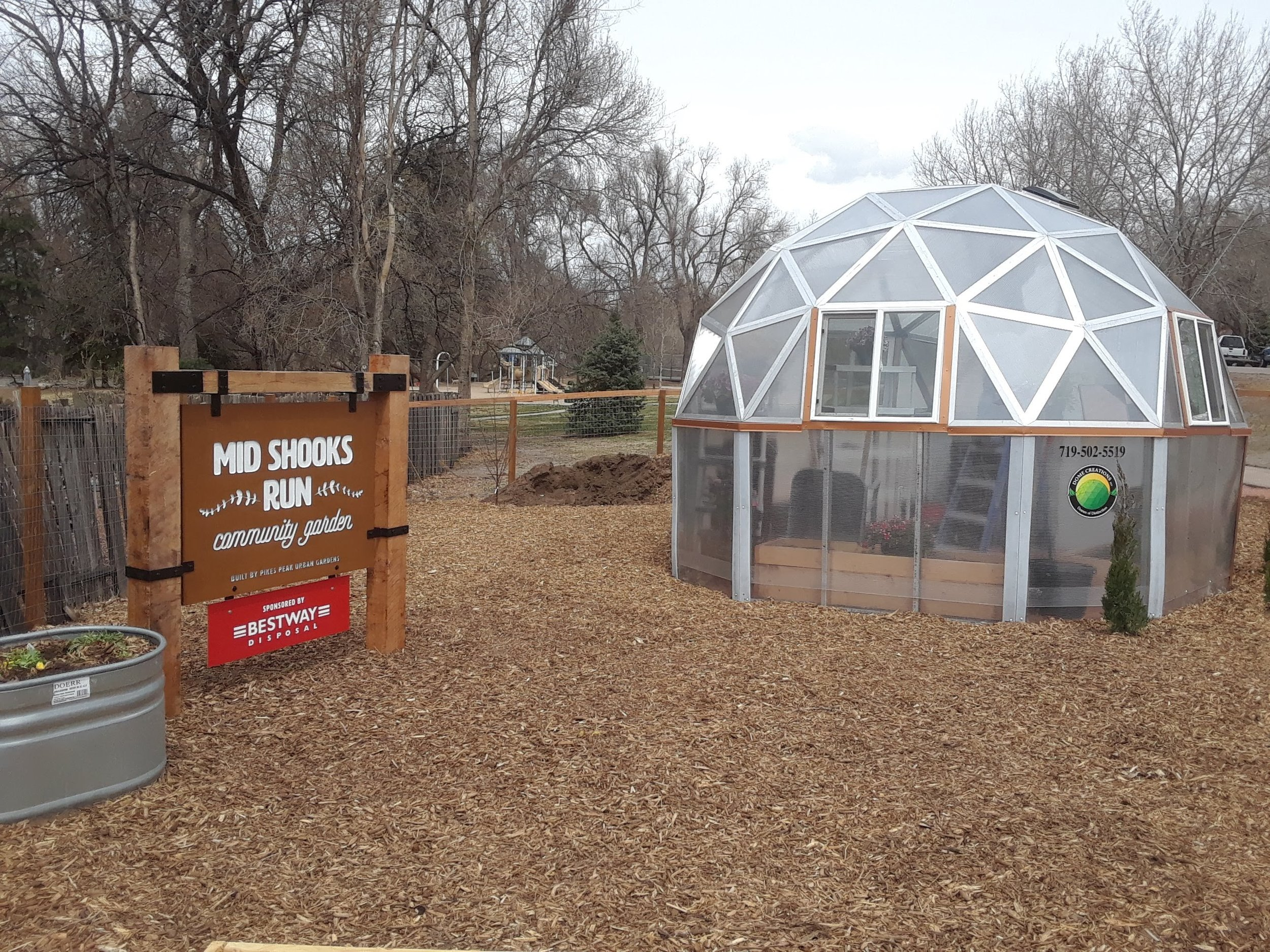 Geodesic dome at Mid Shooks Run Community Garden