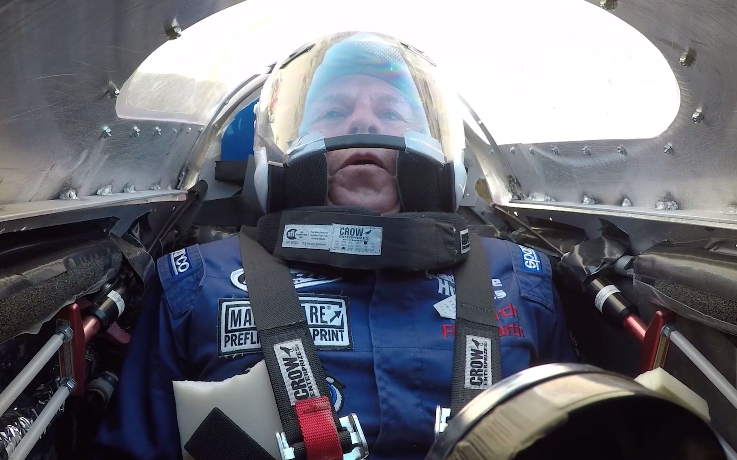 'Mad Mike' Hughes in the cockpit of the flat-Earth rocket before launching.