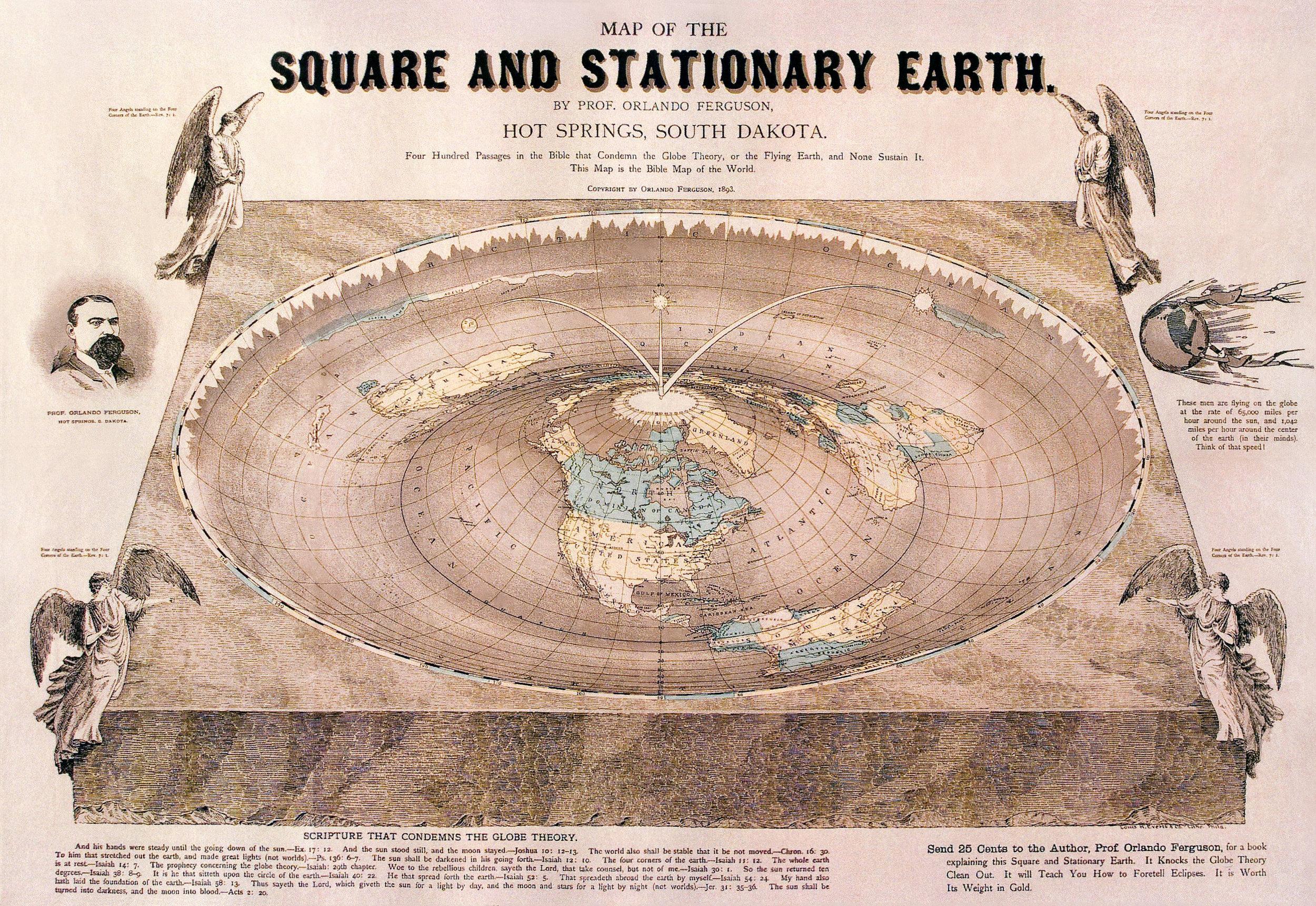 Flat-Earth Map by Professor Orlando Ferguson, Hot Springs, SD 1893