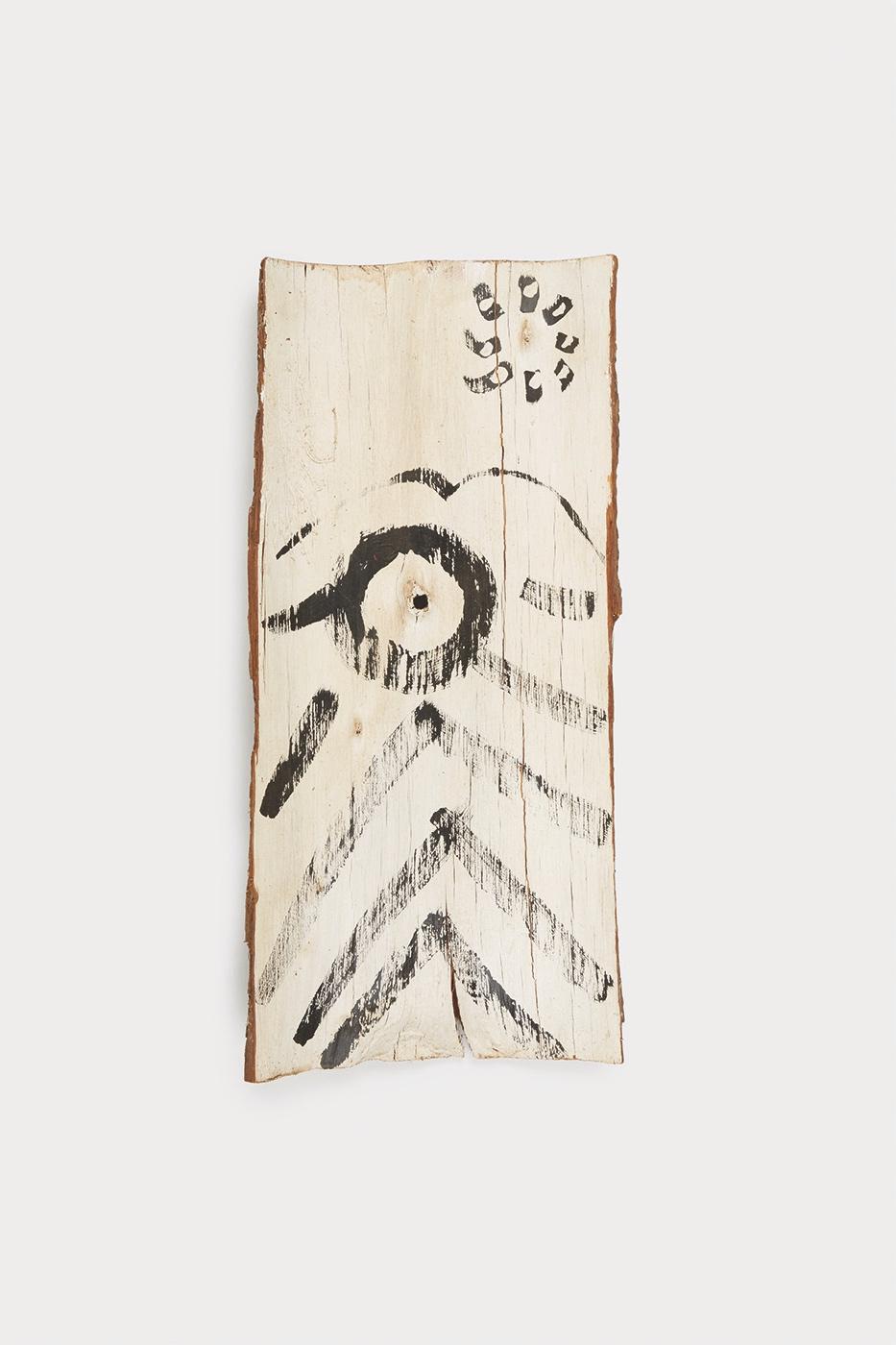 Untitled   Acrylic on Redwood bark  11 x 23 inches  27.94 x 58.42 cm