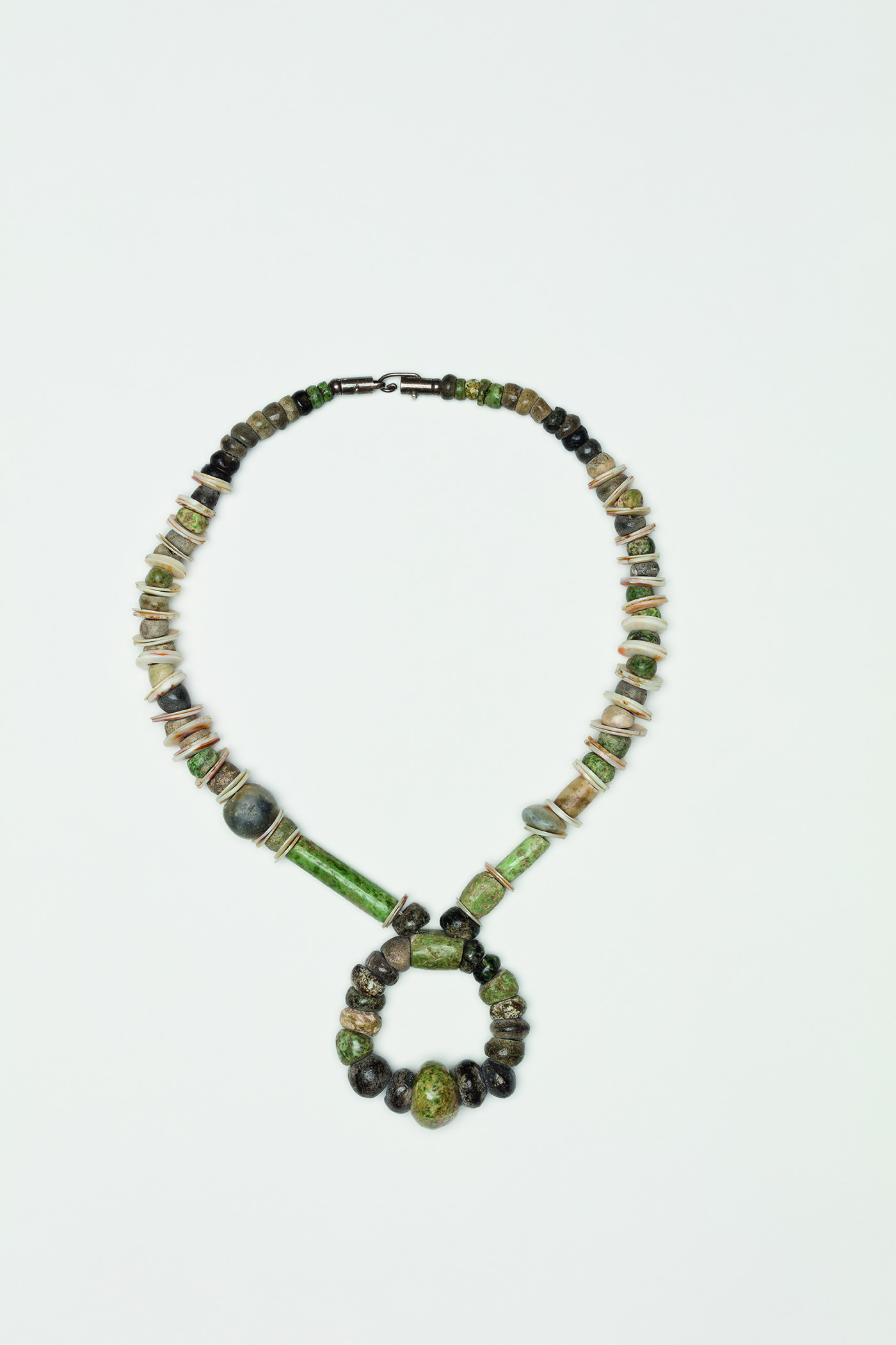 Untitled , 1985  Shells, jade, pre-Columbian beads, silver clasp  13 1/2 x 1 inches  34.29 x 2.54 cm
