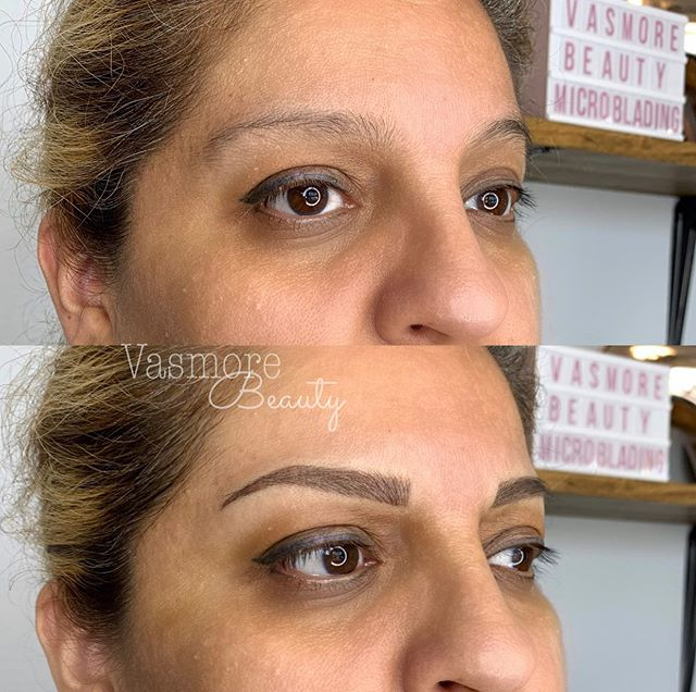 No arch, no tail? No problem! 🧚🏼♂️Transformed her brows to a new shape that enhances her so much more🖤  ✍🏼 technique: combo brows (hair strokes+ shading) 😬Pain: very minimal to none 🧴Topical anesthetic applied ⏱Time: 2-2.5 hours  ⌛️7-10 days to heal  🗓Can last anywhere from 1-3 years 📏Brow shape and color is customized to every clients' face and shape 📱book: link in bio / vasmorebeauty.com