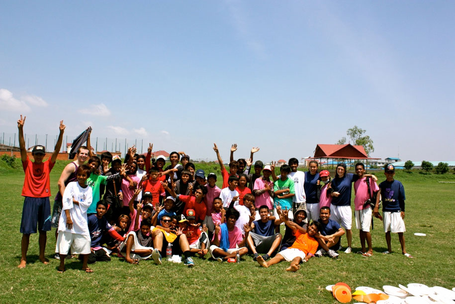 A group of youth participants and coaches on one of the last days of camp