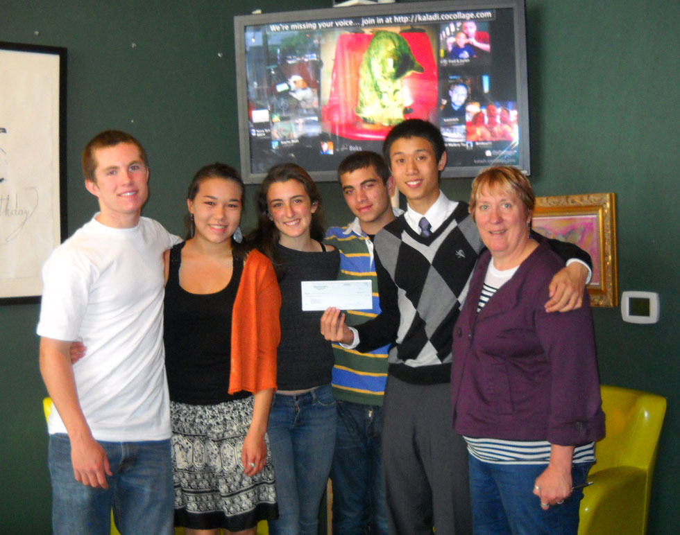 YUP Camp organizers: Kilian Marsh, Julia Bladdin, Addy Borges,  Louis Cohen, and Chris Trinh, receiving a Mother House Fund grant from fiscal sponsor, Cathy Michalec, of Teens in Public Service