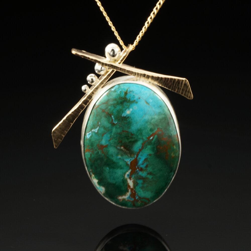 Handmade Tree Necklace Japanese Style Necklace Bonsai Tree Necklace 14k Gold Filled Chrysocolla Malachite Pendant