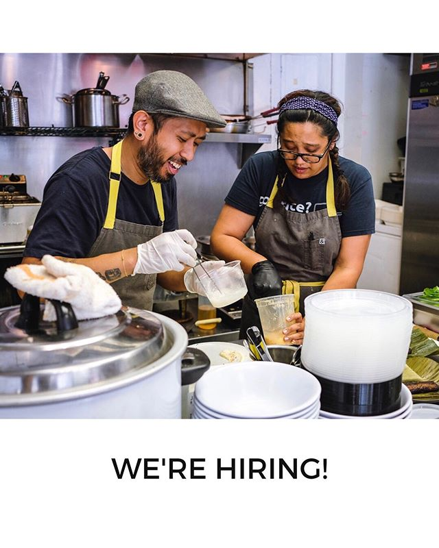 WE'RE HIRING! Baon is looking for  PART-TIME cooks for chef-driven Filipino American food. . . Shifts are approximately either 9am-3pm or 1030-630. One or two shifts a week is fine. . . Interest/knowledge in Filipino food and love of 90s RnB is a big plus. . . Head in person to 419 W 7th St. from 2-5pm M-F or email resume to baon.dtla@gmail.com. In person applicants get priority. . . Tag a chef or share/repost with anyone you think would be interested! . #eatyourbaon