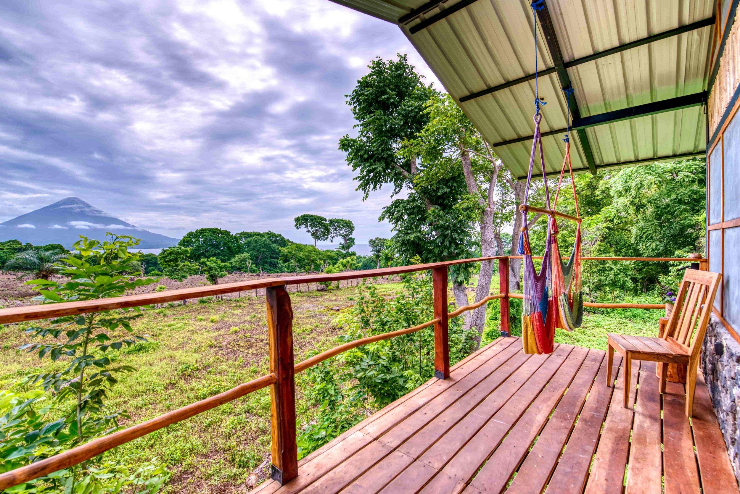 The lake and volcano views from Casa Pitanga jungle cabin accommodation Ometepe Island Bambouseraie