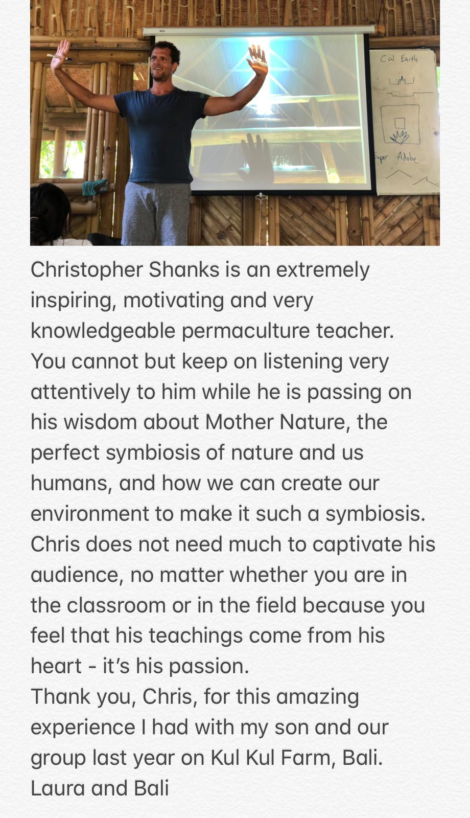Chris Shanks Permaculture Design Course Instructor Testimonial