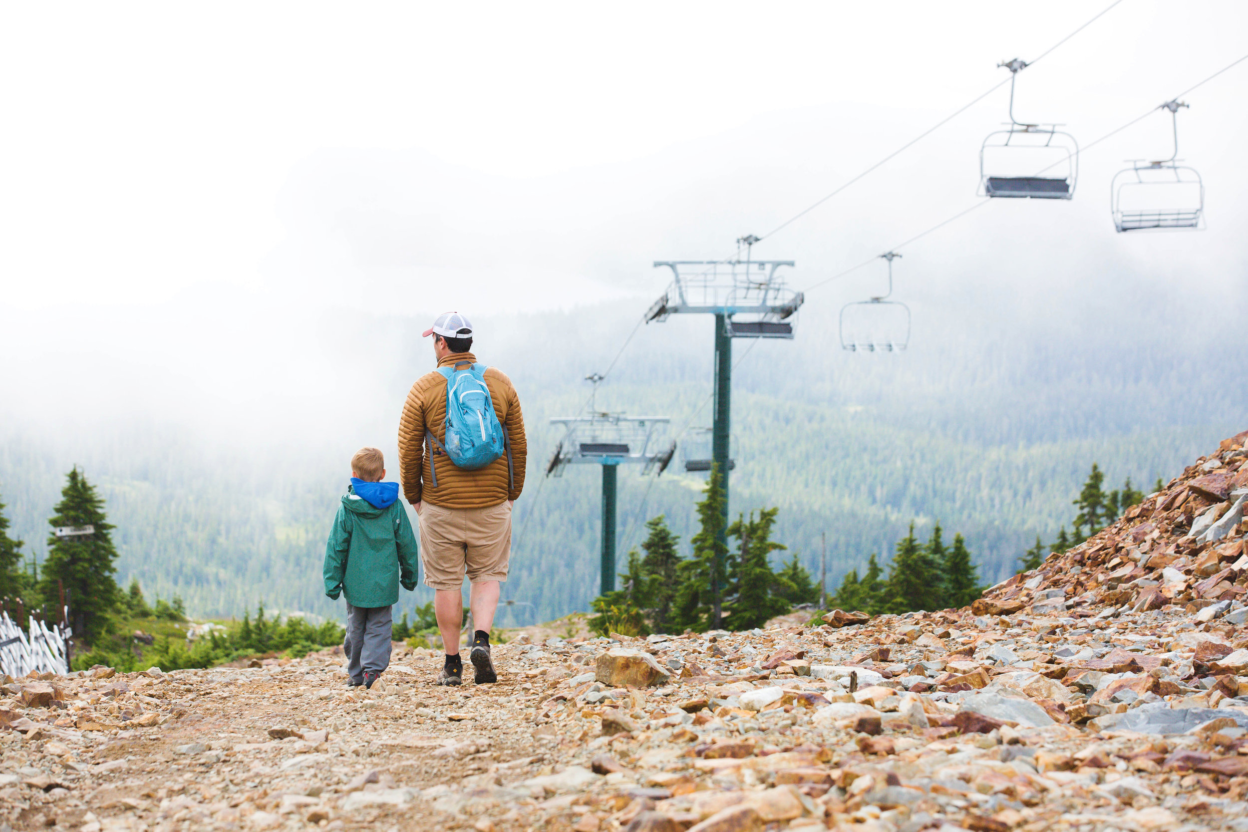 My husband and son walking the peak in Mount Washington, BC | 2019