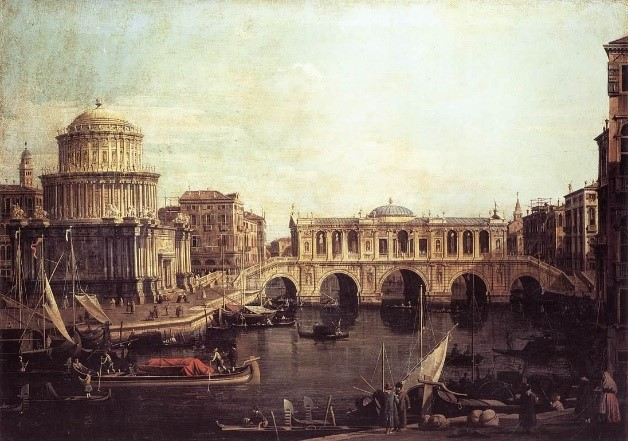 Giovanni Antonio Canal (Canaletto).   Capriccio of the Grand Canal with Imaginary Rialto Bridge . 1740