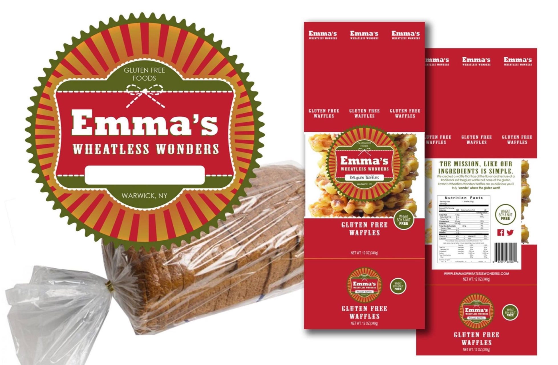 Logo and Packaging:  Emma's Wheatless Wonders Gluten Free Foods