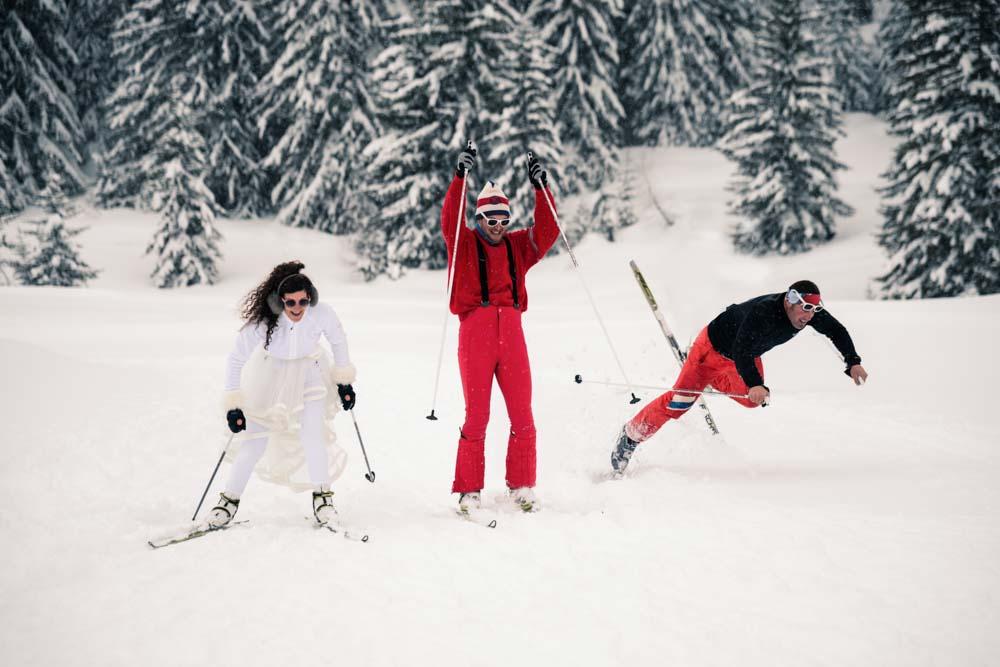 photographe de mariage à la montagne - ski