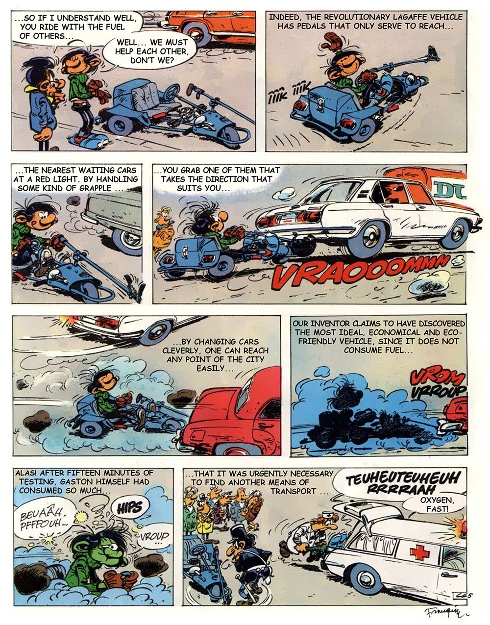 "Phoresy: translated from Franquin's comic Gaston n°13: ""Lagaffe mérite des baffes"", page 23. (Editions Dupuis, 1979)"