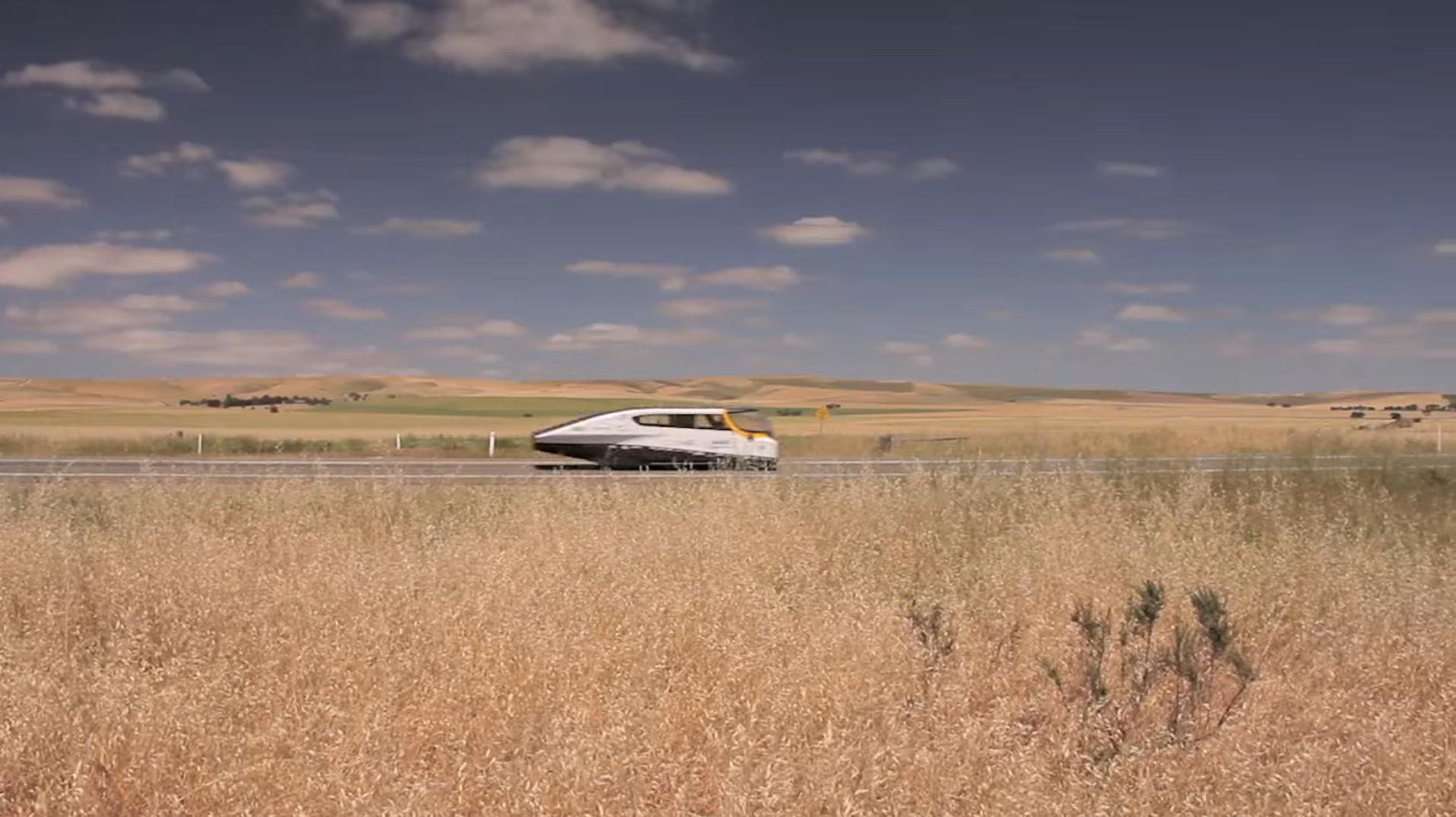 The experimental Stella Solar Car winning the World Solar Challenge in Australia.