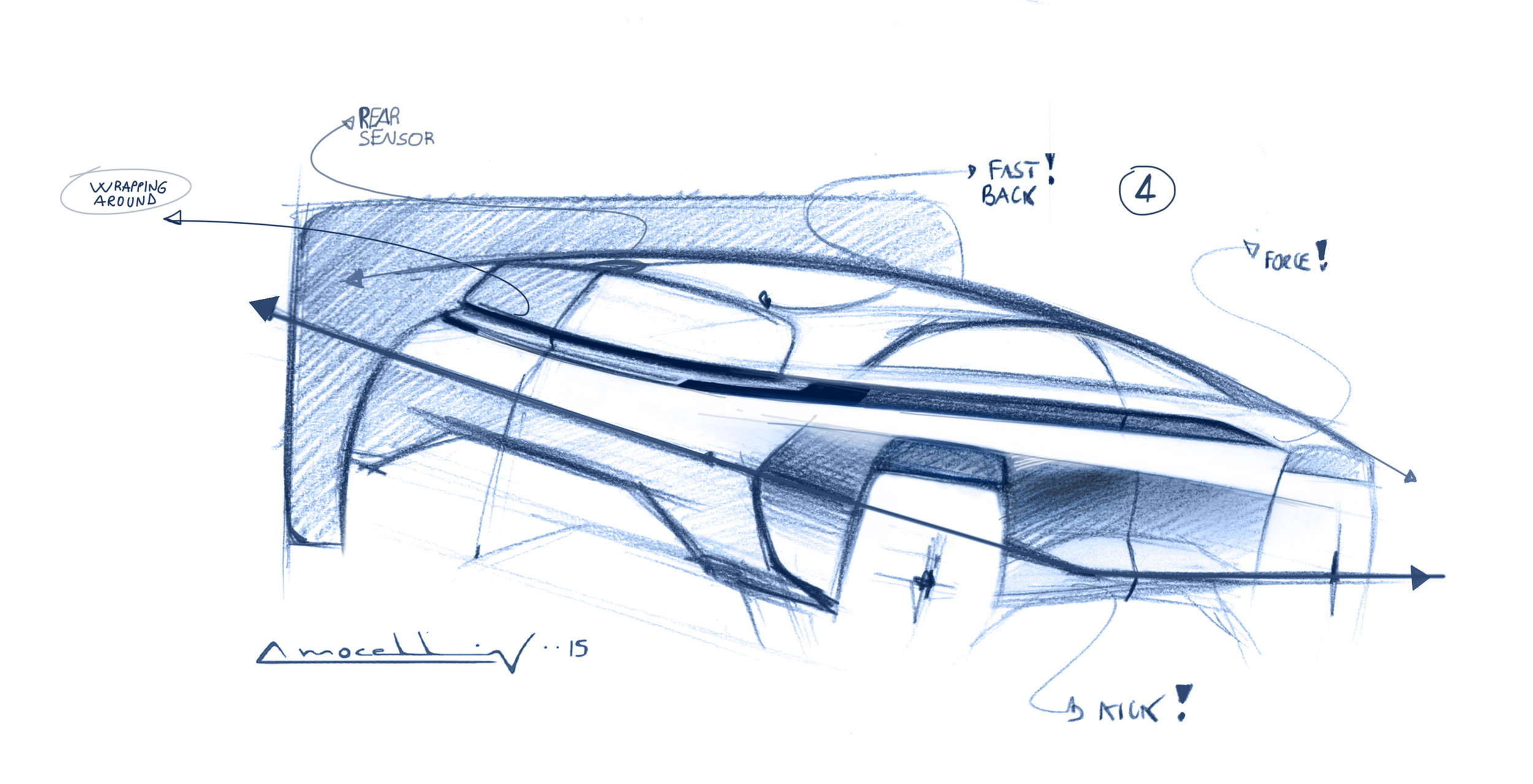 the theme of the rear is based on the aerodynamic 'Kammtail'' principle