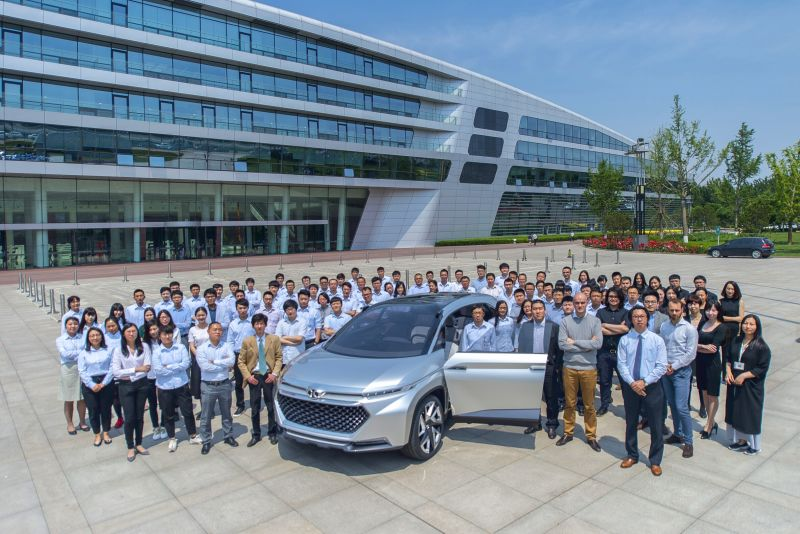 The finished concept in front of the BAIC Group headquarters in Beijing