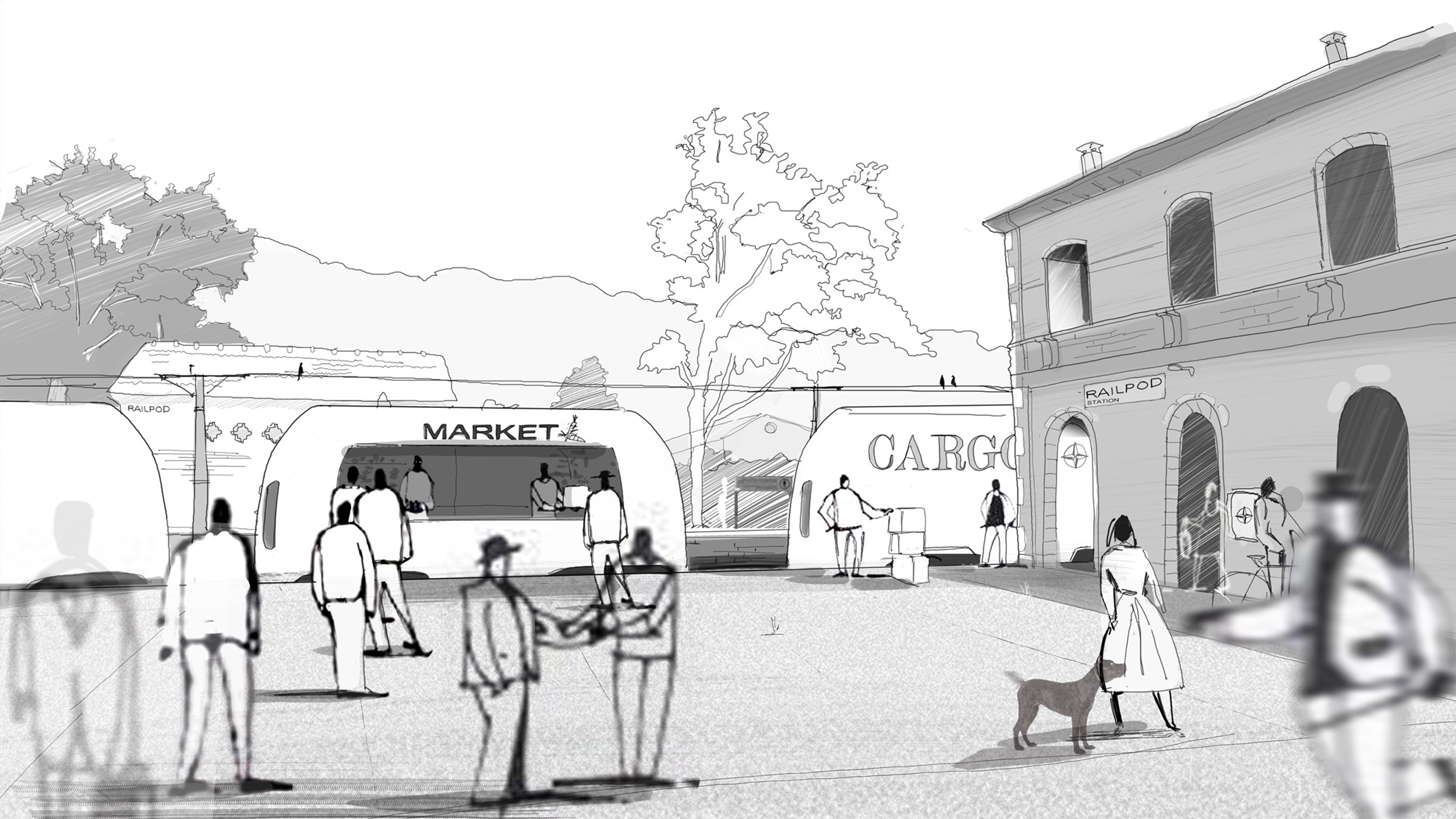 The station as market place enabled by Railpods
