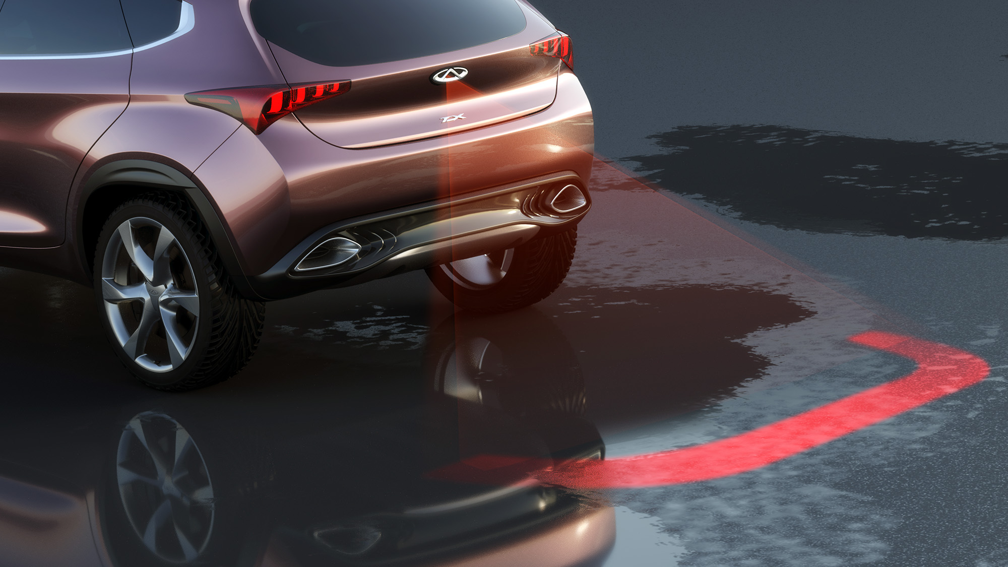 The 'virtual bumper' visualizes the safety area for the car, prefiguring what would become AutoPilor.