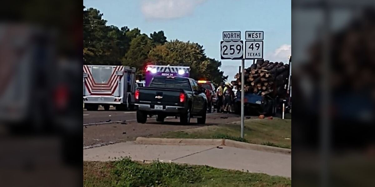 The wreck happened near the sheriff's office in Daingerfield on Hwy 259. (Source: East Texas Rural Civil Defense)