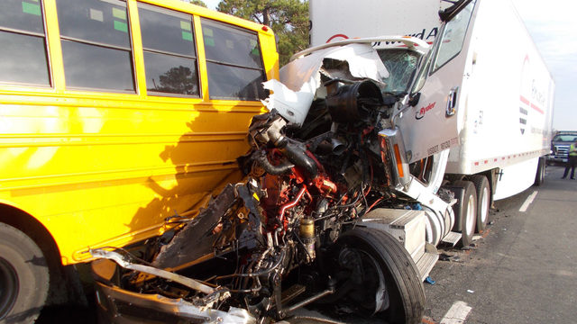 Dozen students hurt, 2 critically, when school bus rear-ended in Stanly Co.jpg
