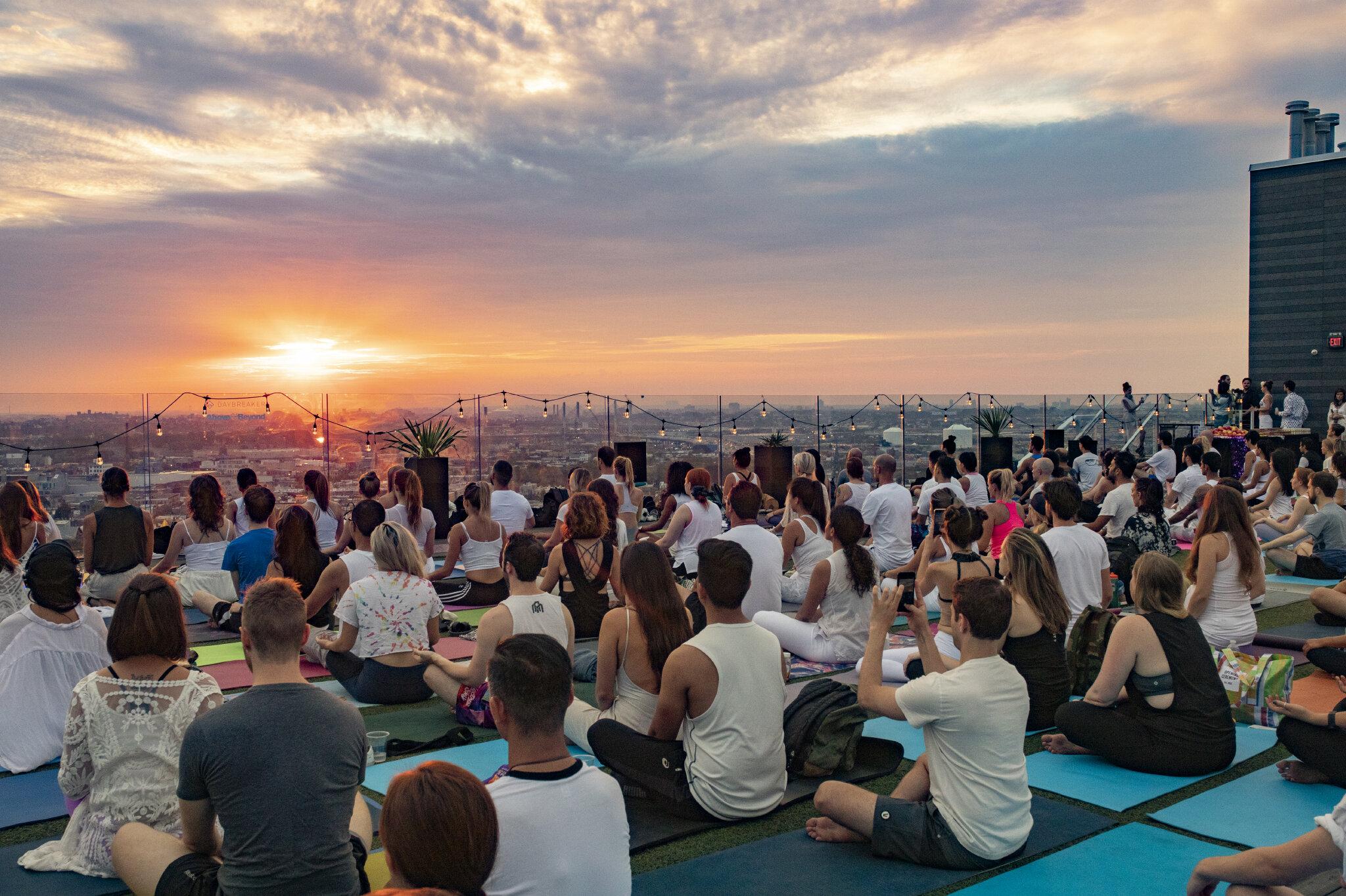 A post work Monday decompression kick it to help mitigate employee stress and address mental health, using sound meditation + yoga + vibes.