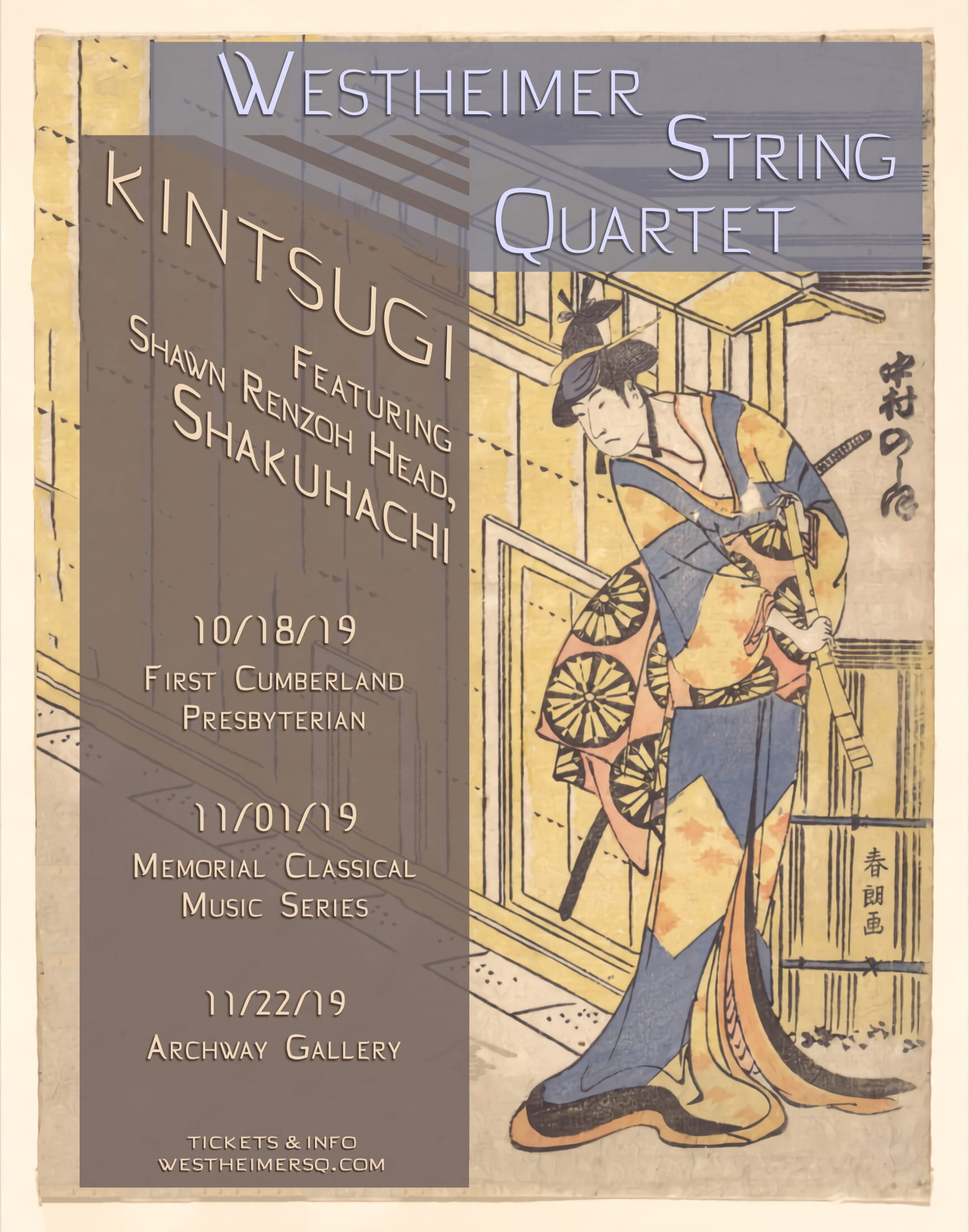 "WSQ - This will be my first time doing a full show with String Quartet and Shakuhachi. Also I will be re-premiering my own work, ""Inside My Glass Doors."""